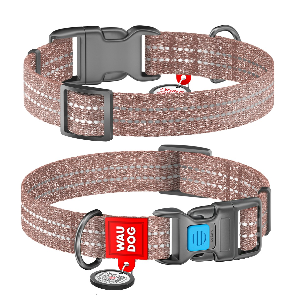 WAUDOG Re-cotton collar with QR passport, from recycled cotton, plastic buckle, brown