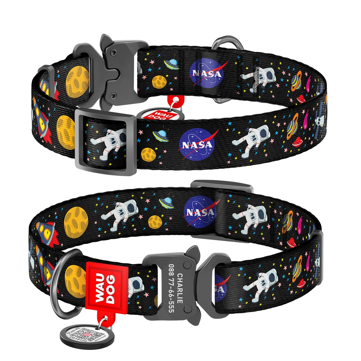 "WAUDOG Nylon dog collar with QR-passport, ""NASA"", metal fastex buckle with an area for engraving and QR tag"